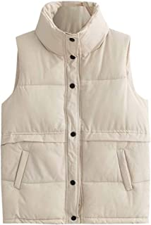Christor Men's Down Gilet Jacket Loose Stand Collar Pocket Cotton Waistcoat for Autumn Winter Outdoors