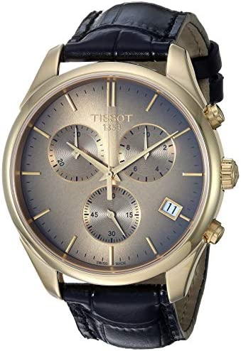 Tissot mens Vintage Steel And 18K Gold Dress Watch Black T9204171629100 product image