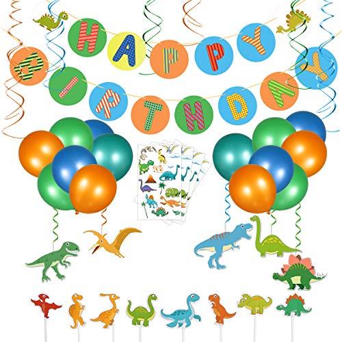 Toyvian Dinosaurier Party Supplies Dekorationen für Kinder Dinosaurier Geburtstag Party Luftballons Baby Dusche Dekorationen Dino Alles Gute zum Geburtstag Banner Cake Toppers (83er Packung)