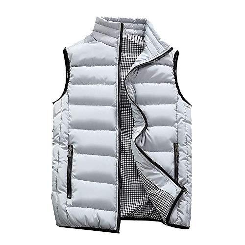 KEERADS HOMME Veste Gilet Casual Chaud Doudoune Vest sans Manche Manteau Blouson Zipper Automne Hiver(FR-52/L,Gris)