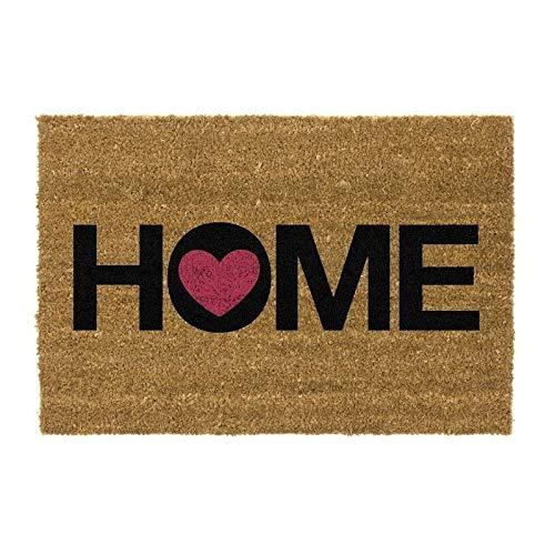 CIAL LAMA Felpudo ''Home'' con corazón, Felpudos Originales para la Entrada de Casa 40x70cm, Fibra de Coco y Base PVC Antideslizante