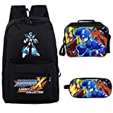 Qushy Megaman Mega Man Backpack Lunch Box Pencil Case Outdoor School Package (K)