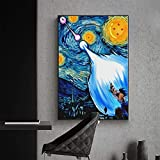 wZUN Póster de Dragon Ball de Anime, Lienzo Impreso, Pintura Abstracta, Imagen de Pared en Blanco y Negro, decoración del hogar para Sala de Estar nórdica 60x80 Sin Marco