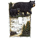 BestGiftEver Black Bear on Birch with Pine Trees Single Switch Cover Wall Plate Cabin Lodge Home Decor