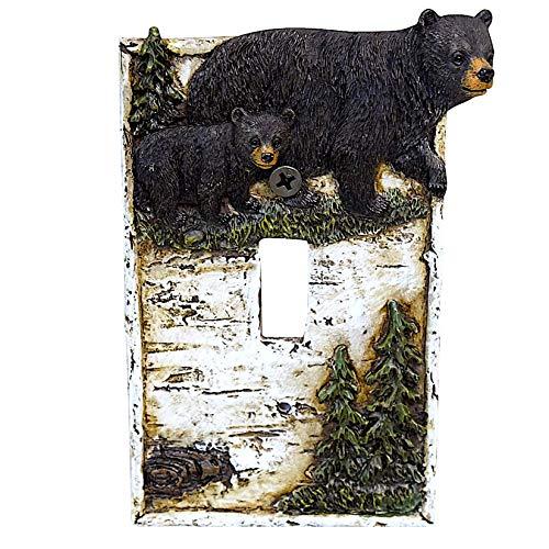 Oso negro sobre abedul con pinos de una sola cubierta para interruptor de pared, cabina, casa de cabina, decoración del hogar