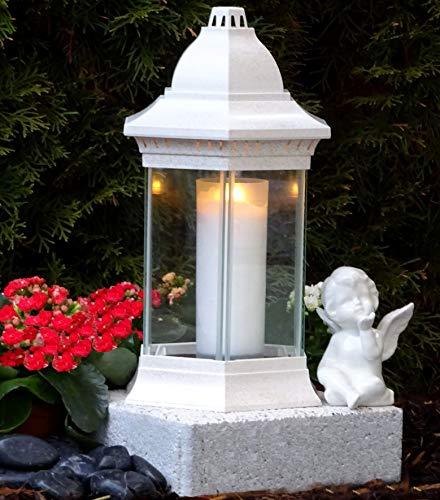 ♥ Grabschmuck Set Grablampe Weiss 30,0cm mit Sockel und Keramik Engel incl. Grabkerze Grablaterne Grabschmuck Grableuchte Grablicht Laterne Kerze Licht Lampe Schutzengel