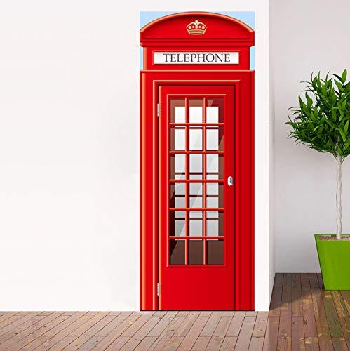 Removable Wallpaper,Adhesivo De Puerta London Red Cabina Telefónica Autoadhesivo Adhesivo De Puerta Película De Pvc Impermeable Vinilo Ecológico Decoración De Pared De Vinilo 77x200cm
