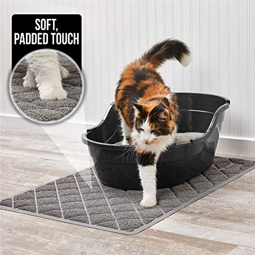 Gorilla Grip Original Premium Durable Multiple Cat Litter Mat, 47x35, XL Jumbo, Water Resistant, Traps Litter from Box and Cats, Scatter Control, Mats Soft on Kitty Paws, Gray