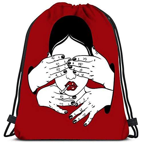jenny-shop Kordelzug Taschen Rucksack Mädchen Mit Roll Up Und Menschliche Hände Vorlage Für Karte Poster Banner Reiserucksäcke