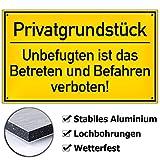Schild Privatgrundstück Hinweisschild inkl. 4 Lochbohrungen | 25x15cm | stabile Aluminium Verbundplatte