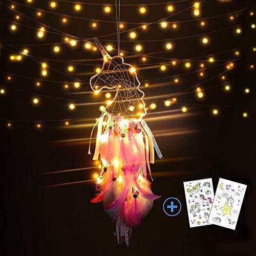 Nice Dream Kinder Traumfänger Einhorn mit LED Licht, Handgemachte Federn Blumen Traumfänger, Einhorndekorationen für Wandbehang Wohnkultur Ornamente Handwerk