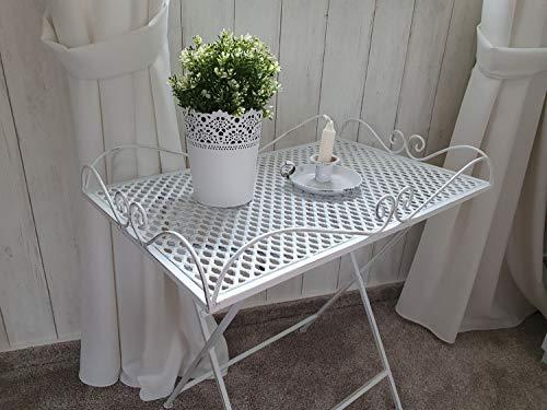 Arinosa Tisch Beistelltisch Gartentisch Dekotisch Eisen Vintage Weiß 60 x 40 x 60 cm
