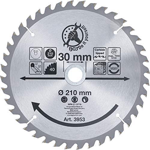 Kraftmann 3953 | Hoja de sierra circular con puntas de carburo | Ø 210 x 30 x 2,6 mm | 40 dientes