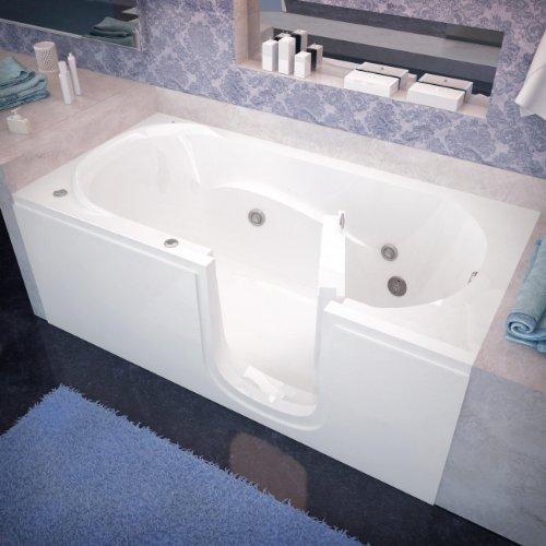 Spa World Venzi Vz3060sirwh Rectangular Whirlpool Walk-In Bathtub, 30x60, Right Drain, White