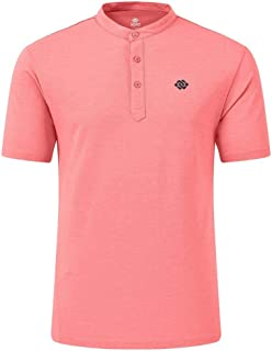 AIRIKE Golf Polo Shirt for Men Dry Fit Cotton Mens Henley Collarless Shirts Short Sleeve Casual Workwear