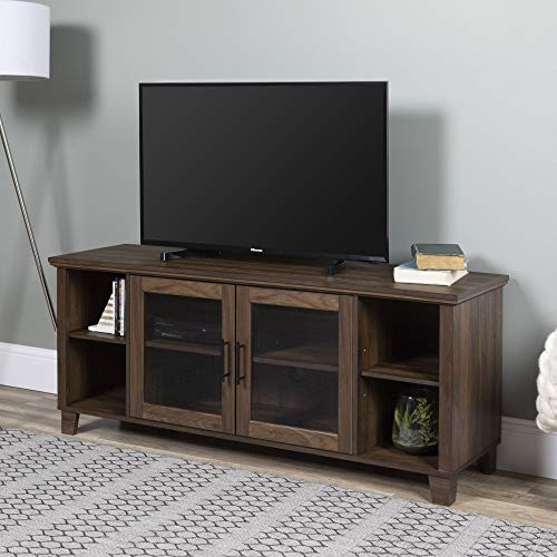 WE Furniture Rustic Farmhouse Wood Stand for TV's up to 64' Living Room Storage, 58', Walnut Brown