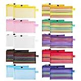 Sooez 20 Pack Zipper Mesh Pouch, Plastic Pencil Pouches Pen Bags Multipurpose Travel Bags for Office Supplies Cosmetics Travel Accessories Multicolor, 10 Assorted Colors