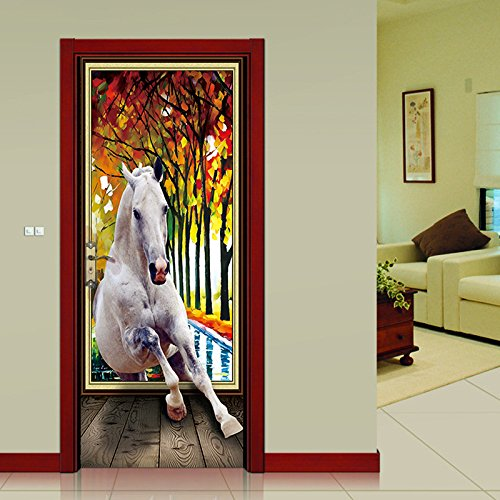 TXFMT muurbehang voor deuren, bladeren, herfst, paard, diermotief, voor 3D-deuren, stickers voor deuren, muur, deur van PVC, voor slaapkamer, kinderkamer 90x200cm