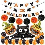 LIZHIGE Decoración de Fiesta de Halloween Set Happy Halloween Balloons Banner, Bat, Pumpkin Ghost Foil Balloon Black Orange Globo de látex para Halloween Bar Suministros de decoración del hogar