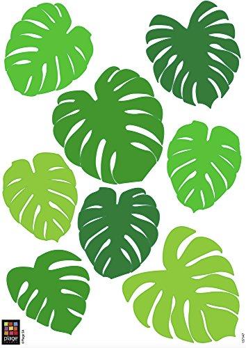 Décoration adhésive 157147 Feuilles Tropicales, Polyvinyle, Vert, 21 x 0,1 x 29,6 cm