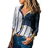 Camisa de Talla Grande para Mujer, Camiseta de Manga Larga con Cuello de Pico Estampado Casual Elegantes Deporte Blusa Oficina Raya t Shirt Moda Botón Tops Primavera Verano riou