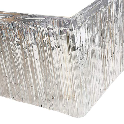 BCLAND Set of 2 Metallic Metallic Foil Fringe Table Skirt(2pack, Silver)
