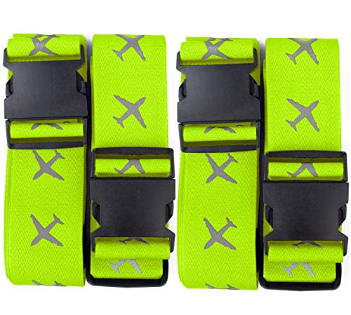 Luggage Straps Suitcase Travel Packing Belt Accessories with Name Tag, 4 Pack, Green