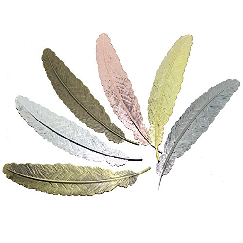 Meeall 6pcs Different Color Vintage Feather Metal Bookmarks