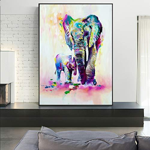 Aquarell Tier Leinwand Kunst Wandbild Elefant und Hirsch Graffiti Kunstdruck für Kinderzimmer Wandplakat 20x30cm