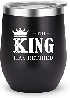 Retirement Gifts for Men Funny Mug, Retired Party Decorations, The King Has Retired Travel Mug for Dad Best Friend Brother Grandpa(Black, King Has Retired)