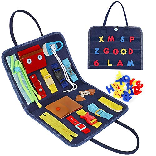 Esjay Toddler Busy Board, Sensory Board for Fine Motor Skill, Montessori Toys Toddler Activities for Travel Car Airplane(Blue)