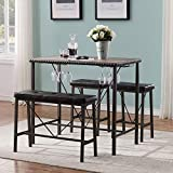O&K FURNITURE Bar Table and Chairs Set of 4, Industrial Dining Table Set with Glass Holder, Kitchen Table with Upholstered Bench and Stools, Counter Height Pub Table Set for Small Space(Gray)