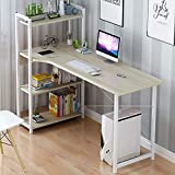 Computer Desk Home Office Notebook Sturdy Writing Desk Office DeskPC Laptop Study Table, Wood Desk with 4 Shelves, 120x55x73cm (WxDxH) MDF