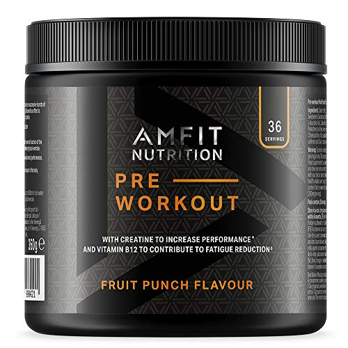Amazon Brand - Amfit Nutrition - Pre-Workout Protein- Fruit Punch 360g , 36 servings