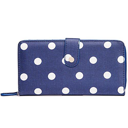 Miss Lulu Womens Oilcloth Purse Wallet Polka Dot Navy