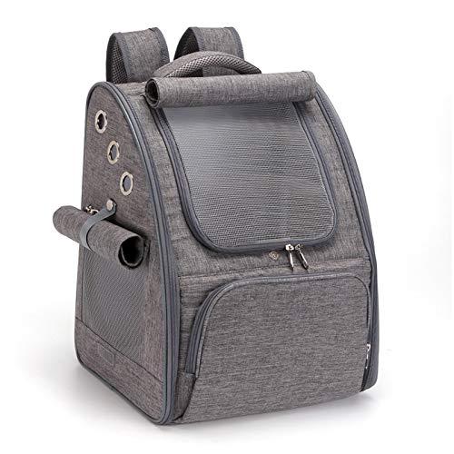 PETCUTE Hunderucksack Atmungsaktiv Katzenrucksack Hundetragetasche Faltbar Haustier Rucksäcke Wanderrucksack für Kleine Hunde und Katzen Grau