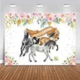 Mocsicka Horse Happy Birthday Backdrop Cowboy Cowgirl Flower Horse Party Background Banner Vinyl Farm Western Baby Shower Cake Table Decoration Supplies (7x5ft)