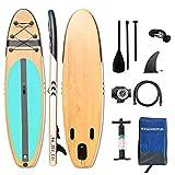 WelandFun, tavola gonfiabile da 3 m e 3,2 m, ultra leggera, per giovani e adulti, con piattaforma antiscivolo, per tavola da surf Adj, con pattino e paddle, pompa, zaino da viaggio impermeabile