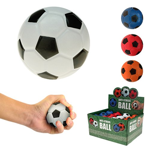 42036WU, 4 Stück Knautschball Stressball Fußball 6 cm, Fussball, Knetball, Antistressball