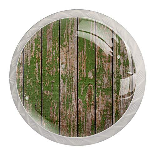 Tiradores de perillas de cajón para niños Madera vieja verde Tiradores para guardería tocador armario cocina perillas temáticas, paquete de 4 3.5×2.8CM