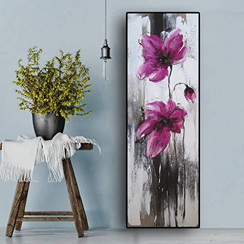 Abstract Papaver Plant Bloem Bloemen Schilderijen Schilderij op Doek, Kunst Posters en Prints Muurfoto voor Woonkamer 50x150cm geen Frame