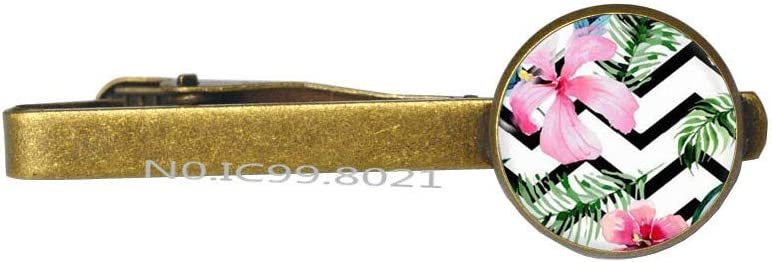 Tropical Flower Tie Clip,Tropical Pattern Tie Pin Tie Clip, Gift for her, Gift Mom-RG265