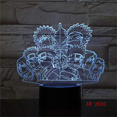 Solo 1 pieza 7 colores cambiantes 3D Luces nocturnas para niños Equipo de Naruto Lámpara de mesa LED USB Anime Lámpara de escritorio Iluminación para dormir para bebés Navidad