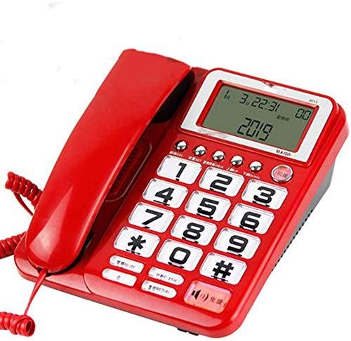 Einzeilig verdrahtete Telefon - Festnetz - Retro Festnetz-Telefon - große Taste Telefonkabel - Kabel analog und DECT-Telefone,D