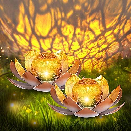 Gartenbeleuchtung -2 Stücke Dekoratives Solar Lotusblüten - Angenehm Warmweißes Licht - Traumhafte Lichteffekte Durch Bruchglasoptik - Solarlampe Gartenbeleuchtung Lotusblume (Color : 2 Stücke)