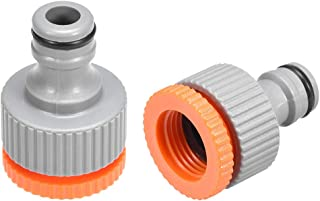 uxcell Garden Water Hose Connector G1/2 and G3/4 Adjustable Hose Tap Adapter Plastic Repair Kit Quick Connect Fitting Gray...