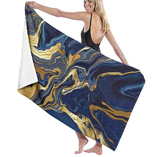 Tsjkwo Luxury Wallpaper Blue Marble and Gold Abstract Texture Indig I Quick-Drying Beach Towel The Best Lightweight Bath Towel for Swimming Beach (32 x 52) inches