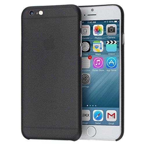 doupi UltraSlim Custodia per iPhone 6 / 6S (4,7 Pollici), Satinato fine Piuma Facile Mat Semi Trasparente Cover, Nero