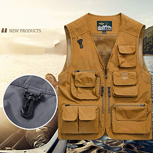 YDSH Men's Multi Pocket Vest Outdoor Fishing Camping Outwear Breathable Mesh Casual Waistcoat With Multiple Pockets M-5XL