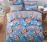 Zller2587 Bettbezug aus Baumwolle, Kissenbezug, Bettlaken- / Matratzenset Anime-Cartoon-Katze Snoopy Totoro Bettwäsche 4er Set Blatt 230 x 230 Abdeckung150 x 200 Kleines neues Tagebuch BYS